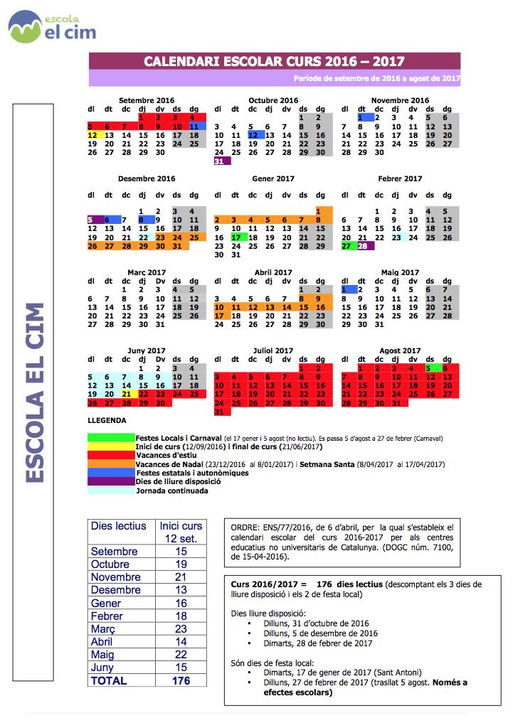 calendari escolar El Cim 2016-17