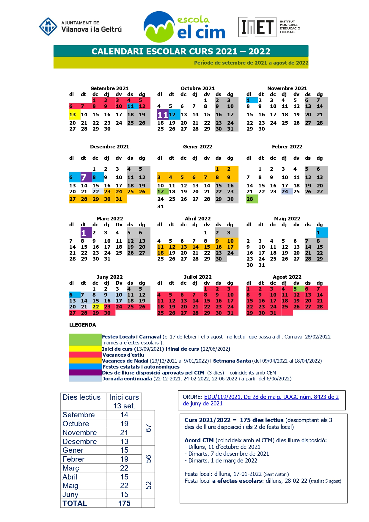 calendari el cim 20 - 21